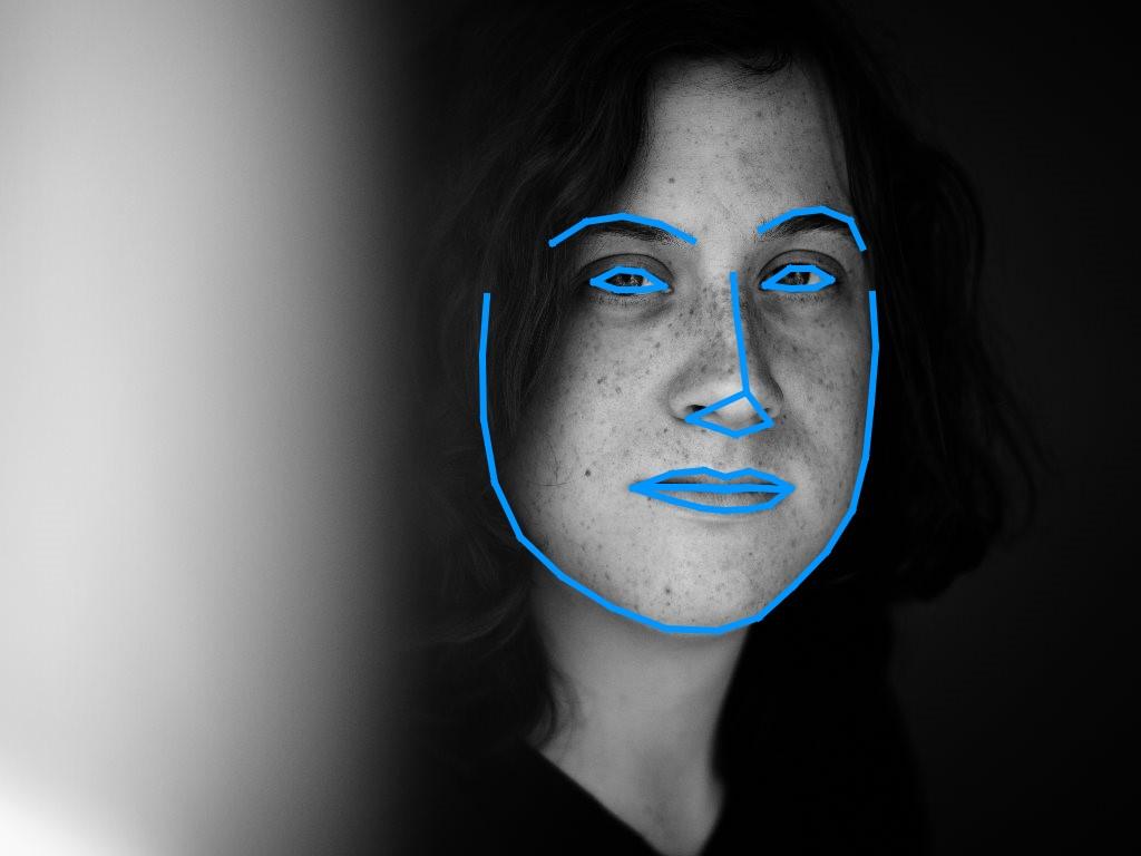 Gesichtserkennung im Schwarz-Weiss-Bild